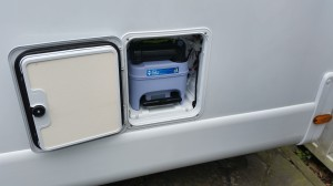 Toilettenkassette im Fahrzeuginneren