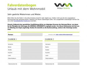 Fahrerdatenbogen Witter Mobile